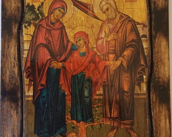 Saint St. Anne & Saint St. Joachim - Orthodox Byzantine icon on wood handmade (22.5cm x 17cm)