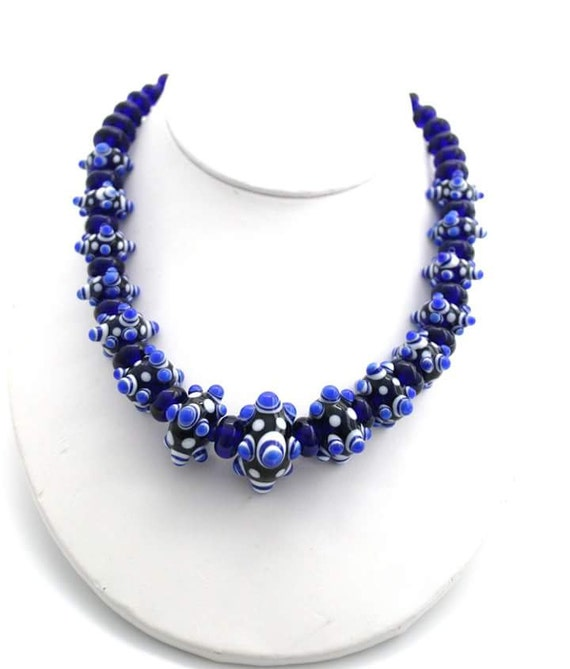 handmade glass bead necklace blue bead necklace artisan