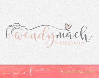 Premade Logo - Photography Logo - Logo Design - Watermark Dusty pink and grey - DIY Photoshop template
