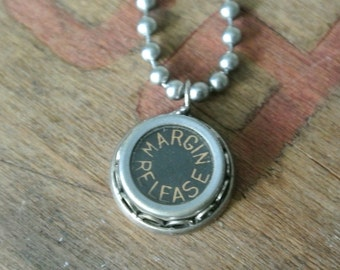 Margin Release Typewriter Key Necklace- Punctuations, Vintage, Antique, Authentic, Typewriter Key, Numbers, A-Z Letters By UPcycled Works