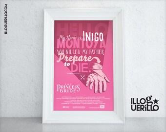 Princess Bride Movie Quote Poster Art // Six Fingered Man Versus Inigo Montoya Print // 11x17 Original Illustration & Wall Decoration Design