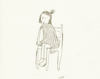 ORIGINAL pencil drawing, childrens illustration, children art, children wall art, children room art, little girl drawing, childrens book art