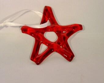 Red Glass Star, Christmas Star, Star ornament