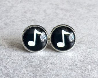 Music Note Earrings - 12mm Silver Plated Bezels and Stud Posts, Black and White Notes, Festival Fashion, Glass Cabochons, Music Lovers, Cute