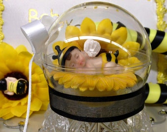 Baby Shower Baby Bumble Bee In a Clear Plastic Globe Cake Topper