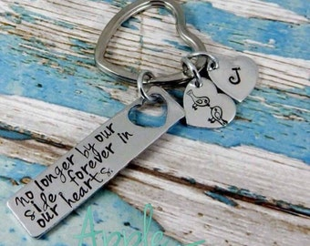 Aluminium heart cut out plaque, a Mother's love is whole, no matter how many time divided. Hand stamped key ring