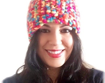 Multicolor warm adult Beanie.