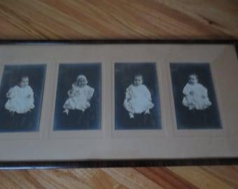 "FOUR ANTIQUE BABY Photos Virginia Christine Born 1914 In Original Tiger Finish Frame 24 3/4"" x 11 1/4"""