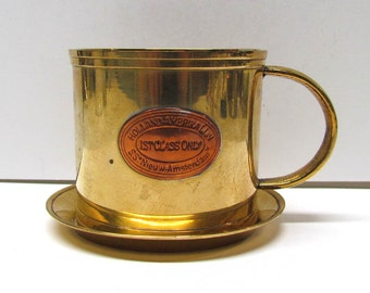 Vintage Brass Teacup and Saucer - Home Decor - Collectible Brass