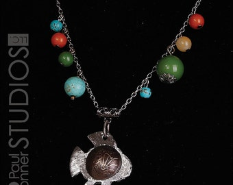 Singapore Bubble Fish Domed Coin Necklace