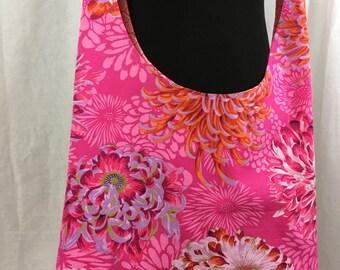 Hobo bag, pink floral sling bag, cloth purse
