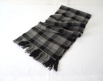 Vintage Charcoal Gray Plaid Handloomed Lambswool Scarf