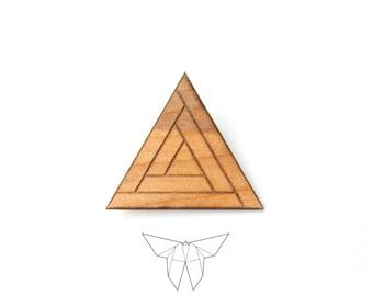 ZOE 'Triangolo' Wood Brooch