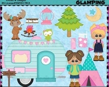 Glamping Camping 2016 Semi Exclusive - Commercial Use Digital Clip Art Set - INSTANT DOWNLOAD - Scrapbooking Craft Clipart Elements Graphics