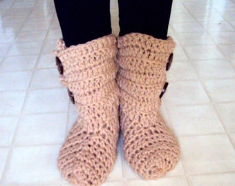 Bootie Slippers  Crochet Slippers Bootie Slipper Socks w/Buttons Easy on Boots