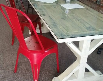 Reclaimed door table, Louisiana - X Base