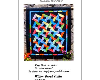 """Pattern """"Tilted Tango"""" Quilt Pattern by Willow Brook Quilts (WBQ304) Paper Pattern"""