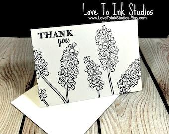 Botanical Thank You Cards - White and Kraft Black Hyacinth Collection, Black Hyacinth Flowers, Hyacinth Thank You Notes