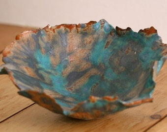 Matt Turquoise Stoneware Ceramic Torn Edged Decorative Bowl (Blue / Brown)