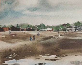 Vintage Watercolor Painting of the Connecticut Seashore...Free Shipping...20% Off Coupon