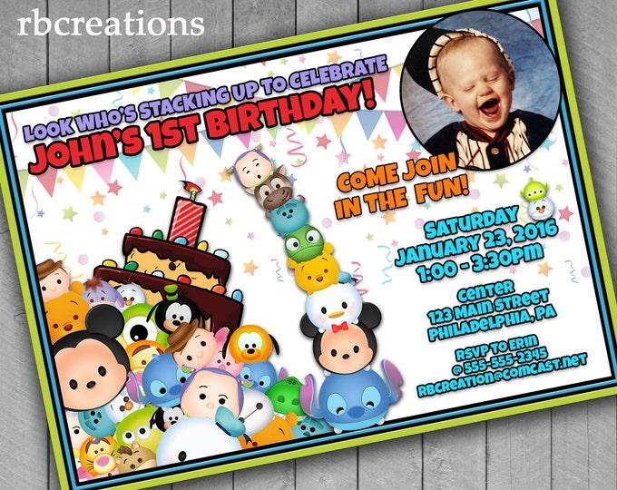 Tsum Tsum Birthday Invitations, Tsum Tsum Printables, Tsum Tsum Party, Photo Invitations, Boy Birthday Invitation, Digital Printables