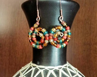 Muted glass bead swirl earrings