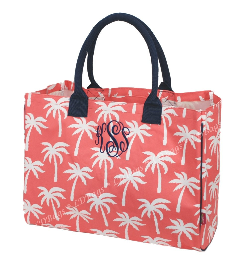 Large Pool Bag, Large Tote Bag,Palm Tree Large Beach Bag,Beach Tote,Palm Tree Tote,Pool Tote,Personalized Tote,Coral Tote Bag with Navy Trim