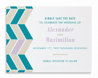Geometric Herringbone Printable Save the Date with Print-at-Home Wedding Invitation Suite and Print-ready Information Card