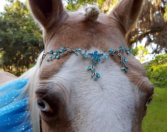 Turquoise Rhinestones Browband for Horse, Draft, Pony, or Miniature Horse - Equine Bling Tack Jewelry - Metal and Rhinestones Brow Band