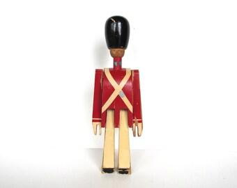 Chippy Kay Bojesen Wooden Soldier Figurine, Mid Century Danish Modern Royal Guard, Vintage Scandinavian Wooden Toy Soldier