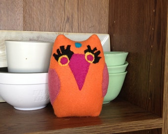 Orange Felt Owl Soft and Cheery with Appliqued Details