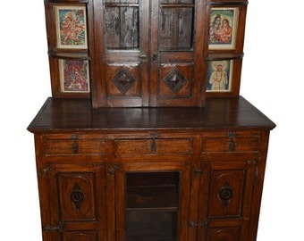 Antique Wall Hutch Cabinet Indian Paintings Boho Shabby Chic Interiors  Drawer Chest Altar Indian Furniture Teak