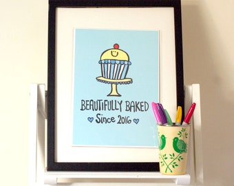 Beautifully Baked New Baby A4 Illustration Print