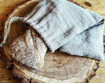 Rustic linen bread bag, Natural pure thick linen bread bag with handmade flax cord, organic food storage, raw linen bag, reusable storage