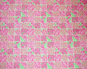 Preppy Pink Green Lilly Pulitzer Carry On Patch Fabric 59x36
