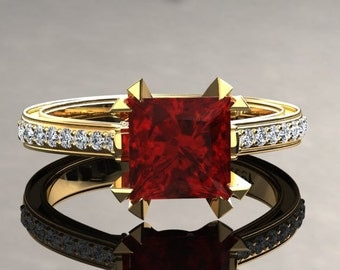 Ruby Engagement Ring Princess Cut Ruby Ring 14k or 18k Yellow Gold Matching Wedding Band Available SW12RUBYY