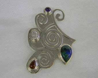 "Sterling Silver 925 Swirly Blue And Green Pendant 2 1/2"" Long ET 6101"