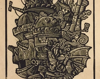 Howl's Moving Castle Block Print
