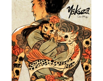 Yakuza Back Tattoo_fight the dragon Print 12x18 inch