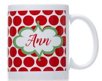 Personalized Mug-Christmas Mug-Holiday Mug-Ceramic Coffee Mug-Red Polka Dot Mug