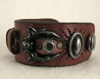 316 Steampunk Burning Man Old Belt Bracelet Recycled Jewelry