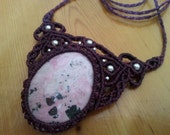 Rhodonite Macrame Necklace