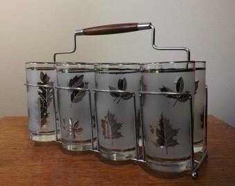 8 ~ Libbey Starlyte High Ball Glasses with Caddy ~ Frosted Silver Leaf Pattern ~ 1960s Glasses ~ Mid Century