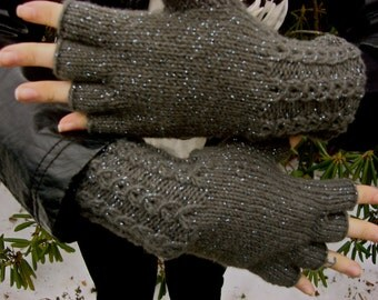 pewter gray shimmering half finger gloves, with four inch mock cable cuff, women's size small/medium, ready to ship