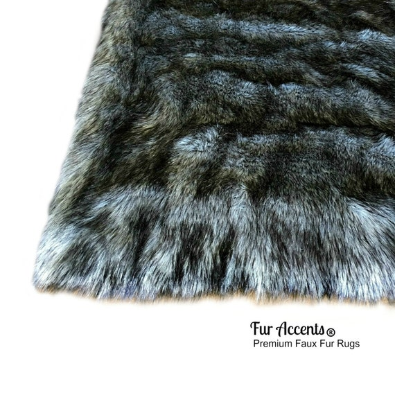 Shaggy Gray Wolf Pelt Rug Premium Faux Fur Thick Gray With