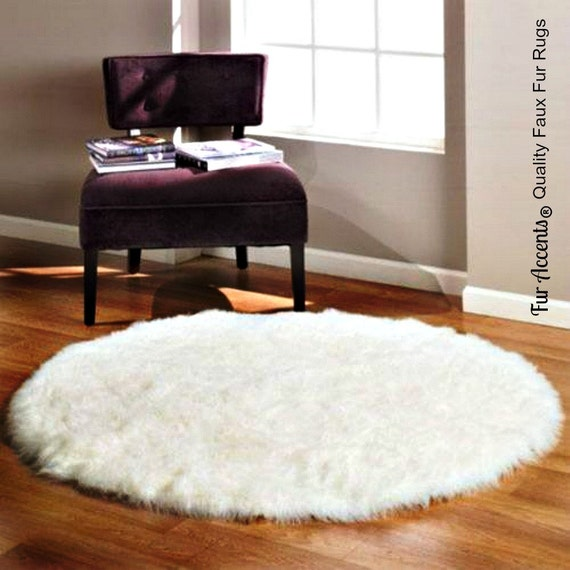 Thick Plush Shag Round Area Rug Premium Faux Fur By FurAccents