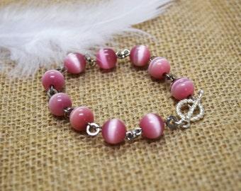 Pink Cat's Eye Beaded Bracelet, upcycled