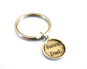 Funny Dad Father Key Chain Fab Split Ring Typeset Men's Word Recycled Paper Metal Vintage Repurposed Book Upcycled Materials Gift for Him
