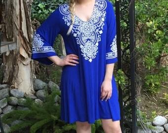 Plus size dress, Womens Plus Size, Dresses, Ethnic Clothing, Tunic, Dress, Plus Sizes, Bell sleeve Dress, Royal Blue & White, L XL 2X 3X