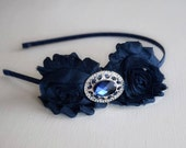 Navy Headband - Blue Headband - Vintage Style Headband - Hair Accessories - Hair Jewelry - July 4th Headband - Victorian Headband - Adult